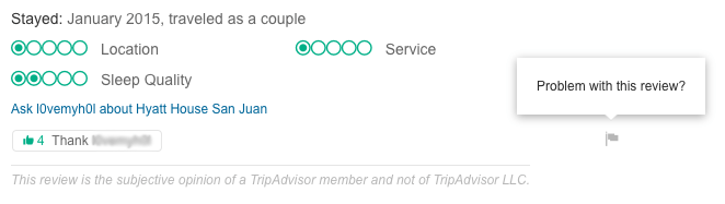 Flag an inappropriate hotel review on TripAdvisor