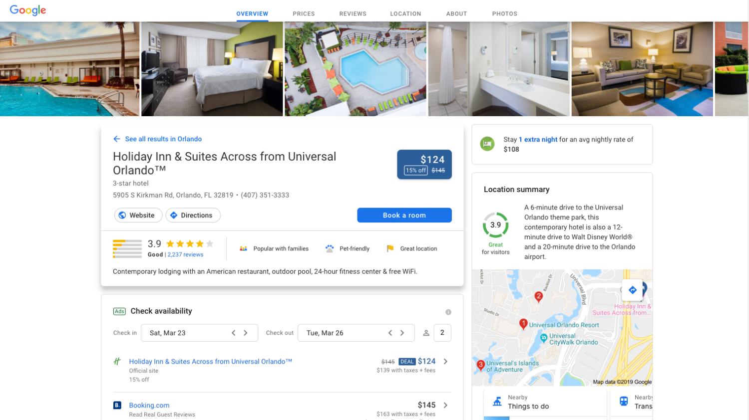 Google Hotel Overview