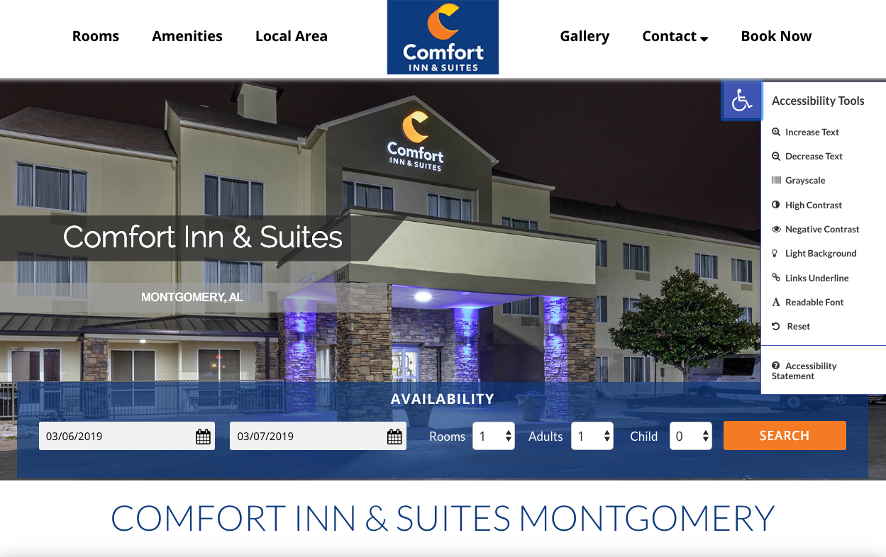 Accessible Hotel Website