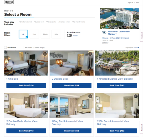 Available Rooms at the Hilton Fort Lauderdale Marina