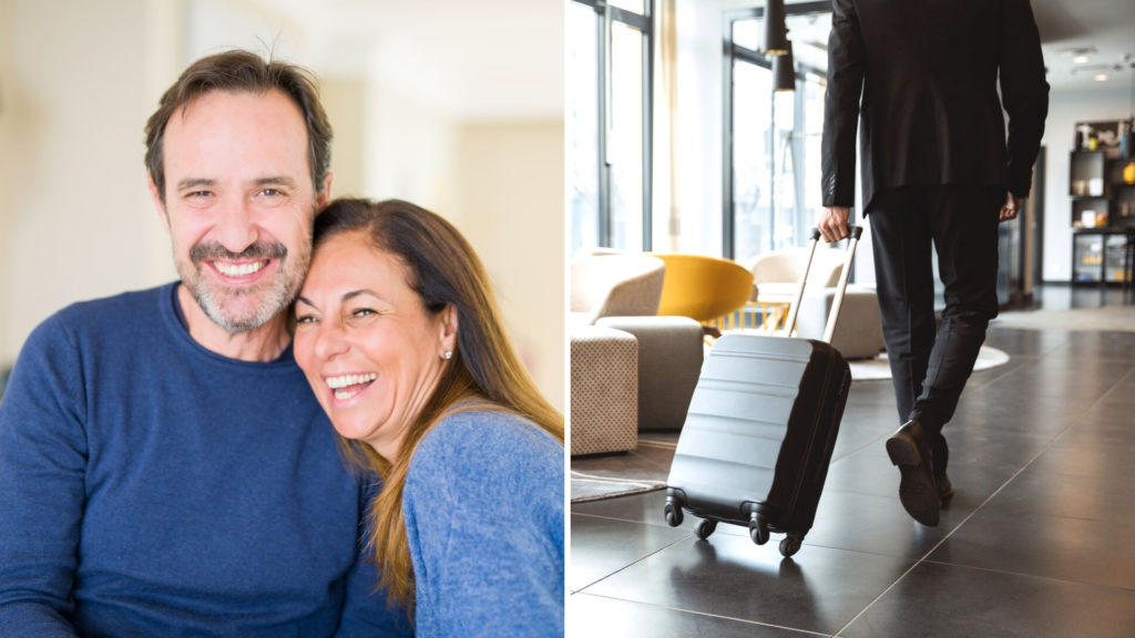 Split Image with Middle-Aged Couple on the Left and a Businessman Pulling a Suitcase on the Right