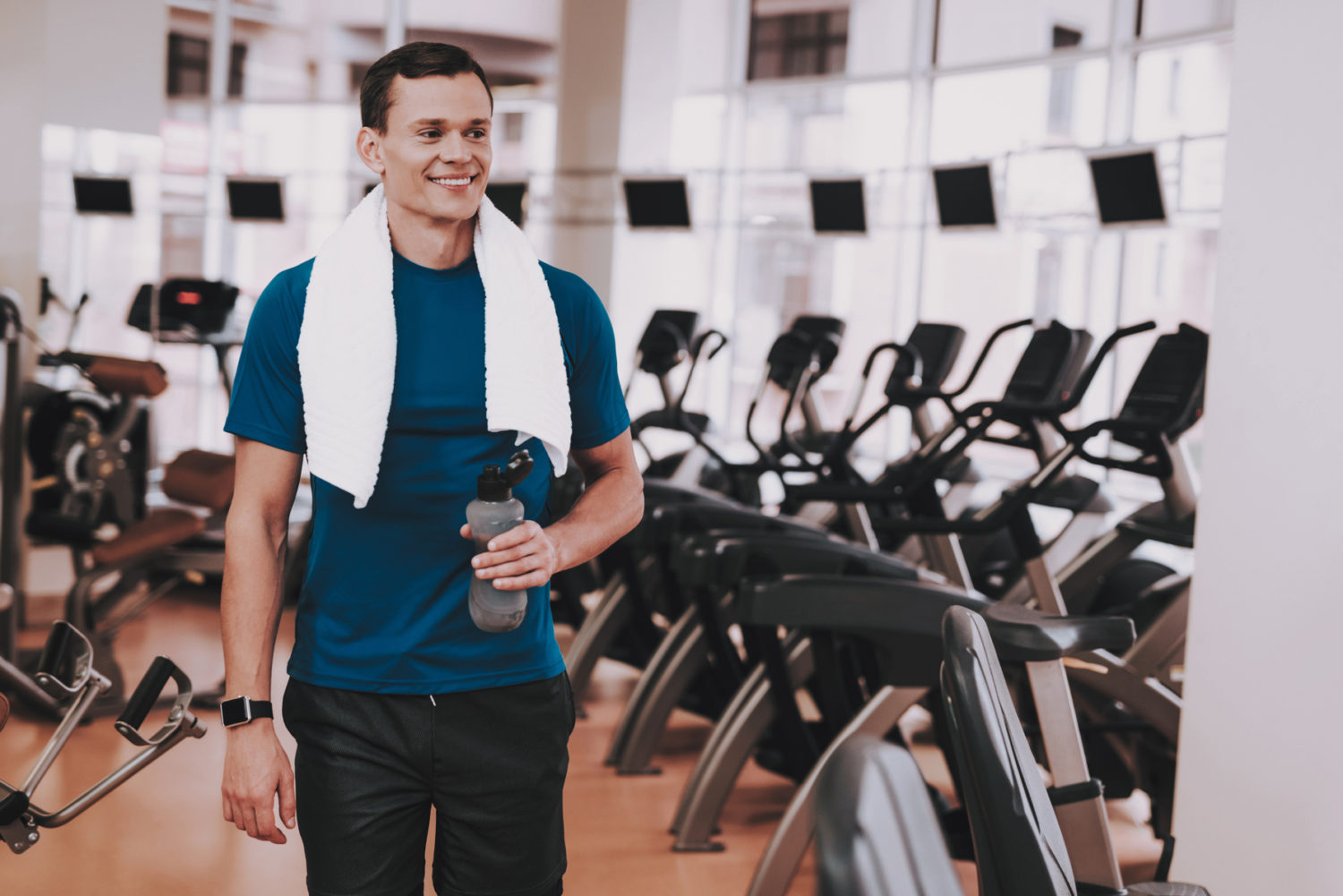 Man Visiting a Hotel Fitness Center