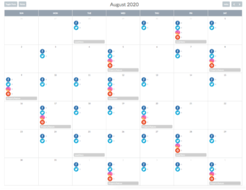 hotel social media marketing calendar
