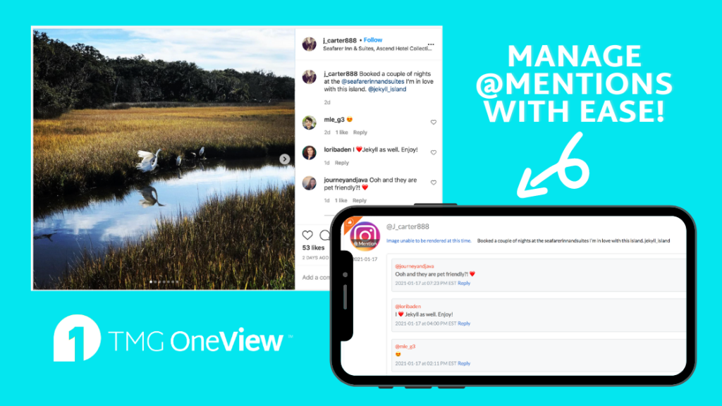"""""""Manage Mentions With Ease on TMG OneView"""" Shows Instagram Photo with Caption Tagging a Hotel and How the Post Appears in OneView"""