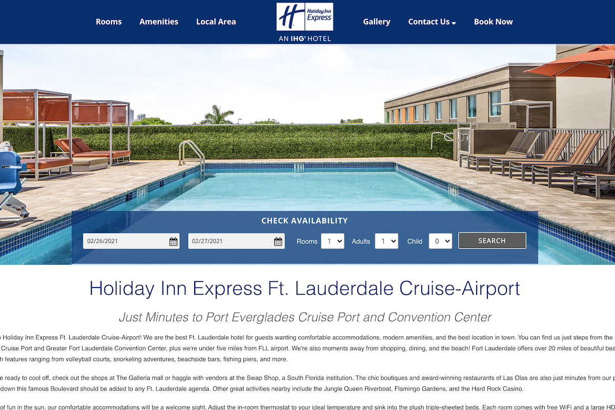 Screenshot of the home page for the Holiday Inn Express Ft. Lauderdale Crusie-Airport
