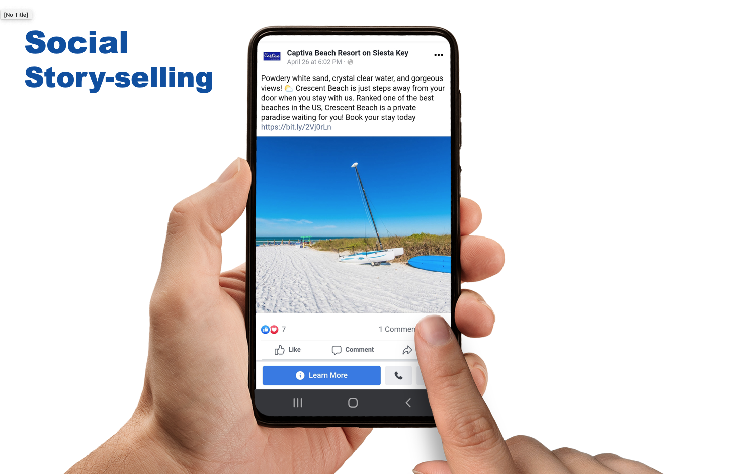 social media post on a phone about traveling to the beach