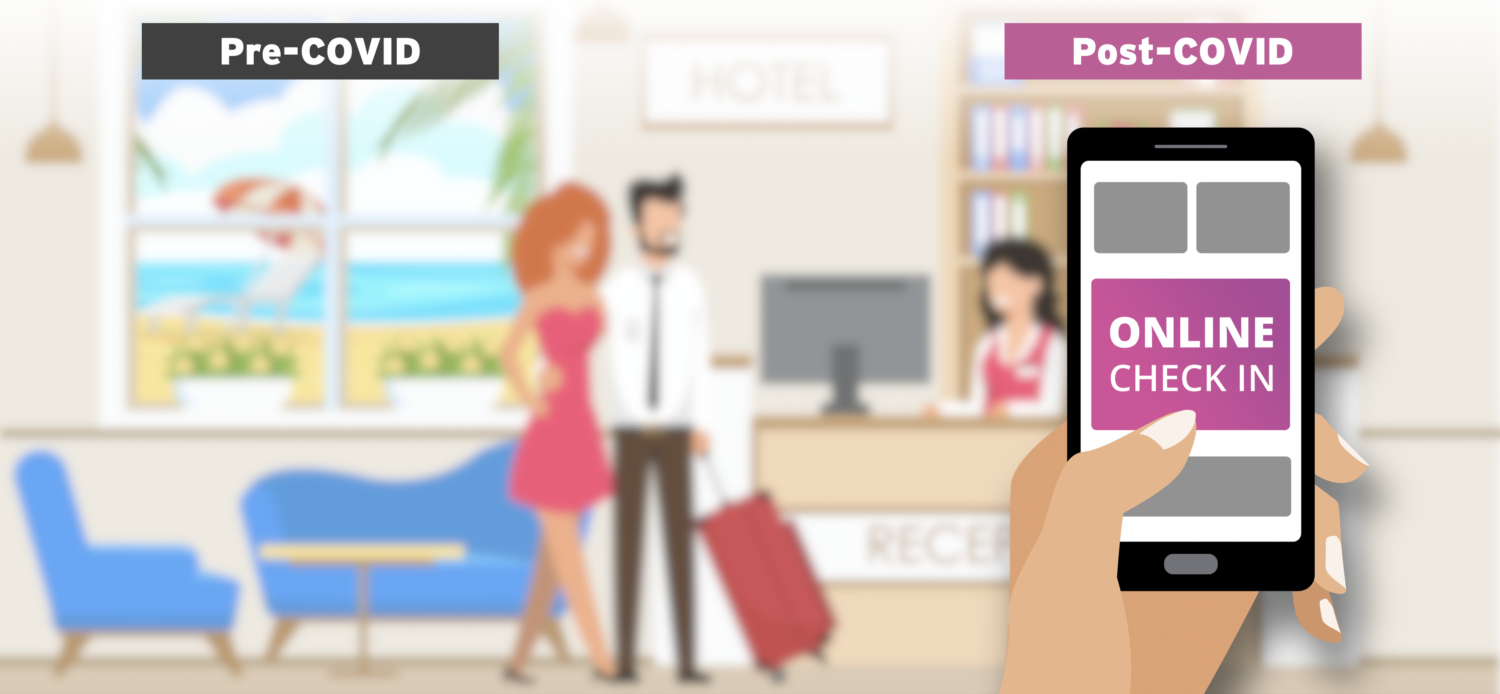 """two guests checking in at reception with a hand overlaid holding a phone that reads """"Check in"""""""