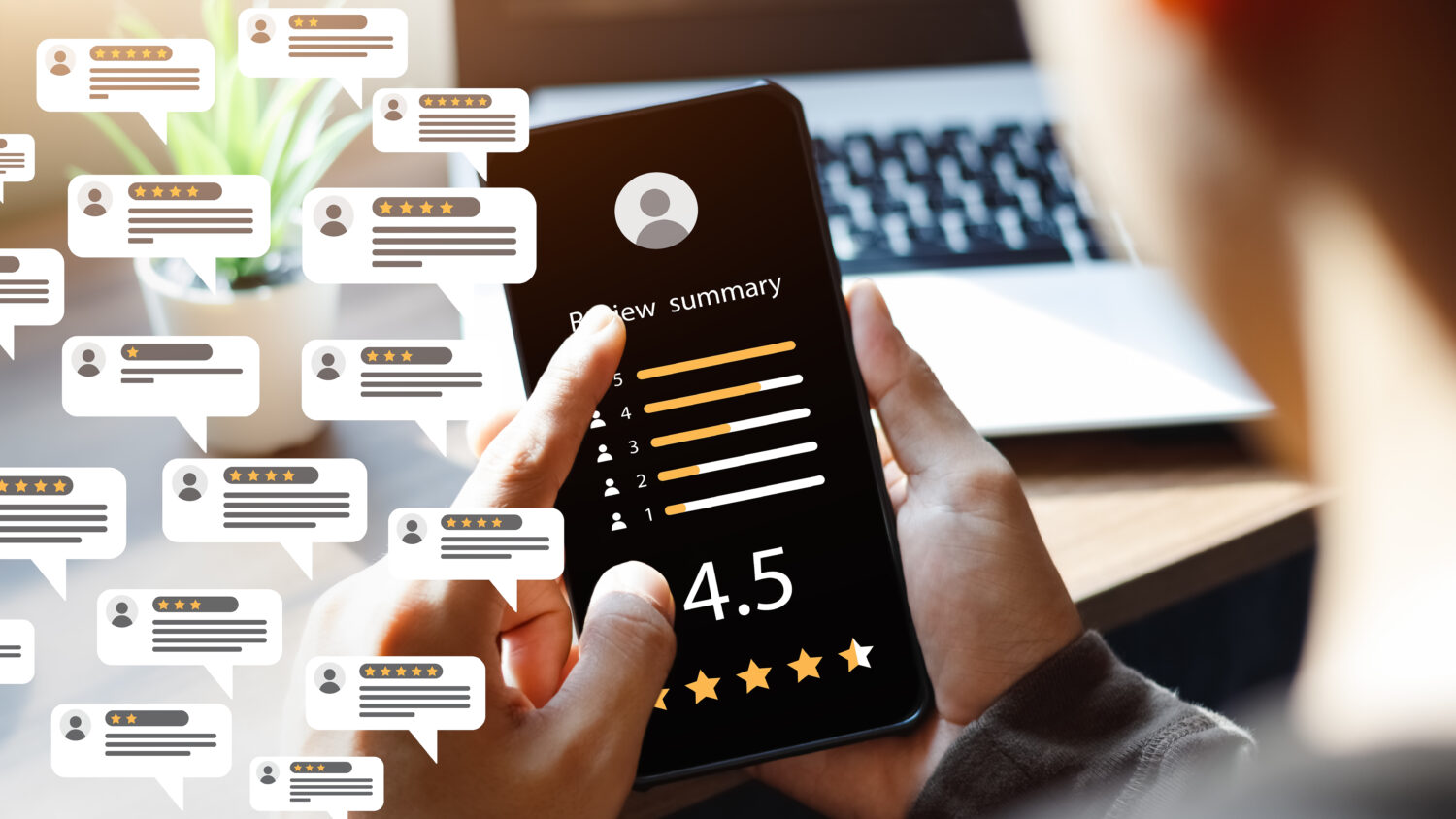 using a cell phone to leave review ratings online